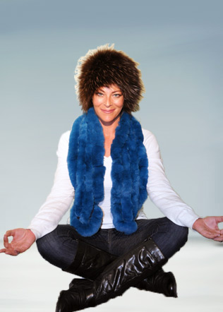 Knitted Fur Hat with Rex Scarf