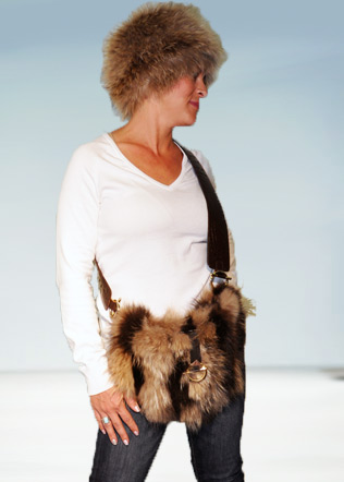 Knitted Fur Hat with Fur Purse