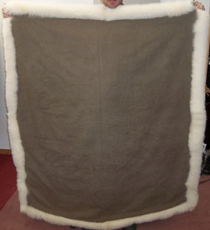 Backside of a blanket made from recycled fur