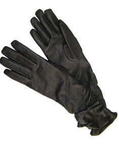 Gauntlet Black Leather ladies gloves