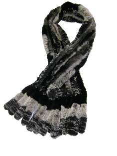 Grey and Black sheared Rex Rabbit Scarf