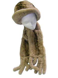 Sheared Rex Rabbit Fur Hat and Scarf