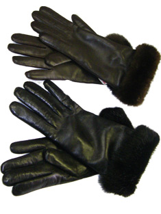 Black and Brown ladies Leather Gloves with Mink Trim
